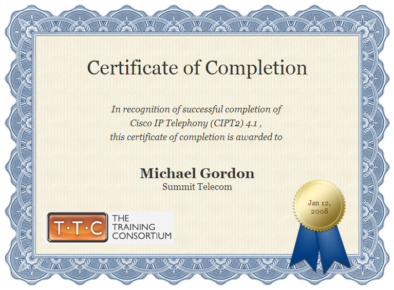 Michael g gordon html resume training certificate yelopaper Gallery